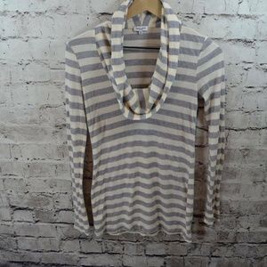 Splendid Knit Stretch Thermal Striped Cowl Top